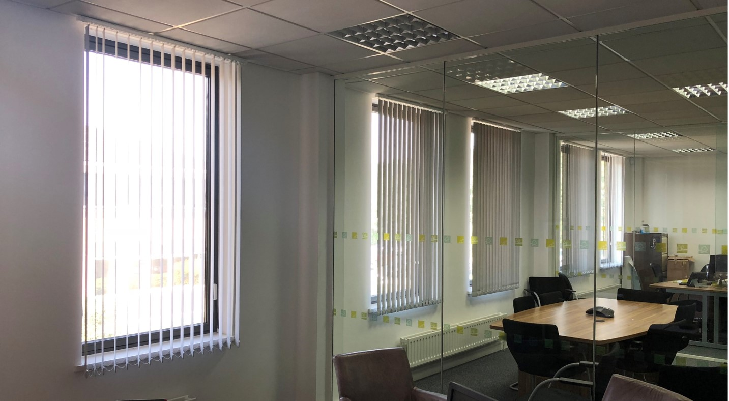vertical blinds in a commercial office