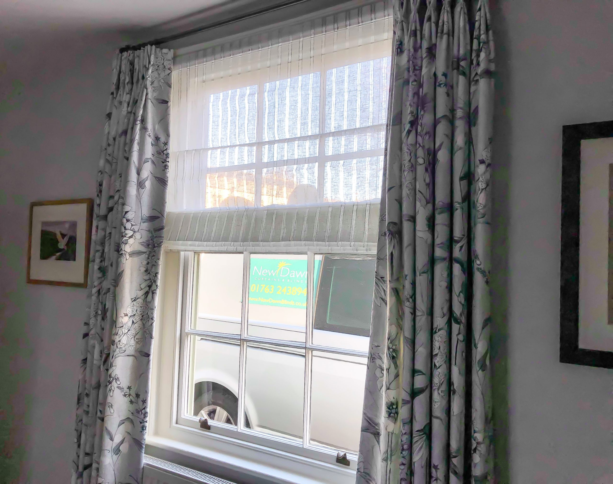 living room sash roman voile and curtains