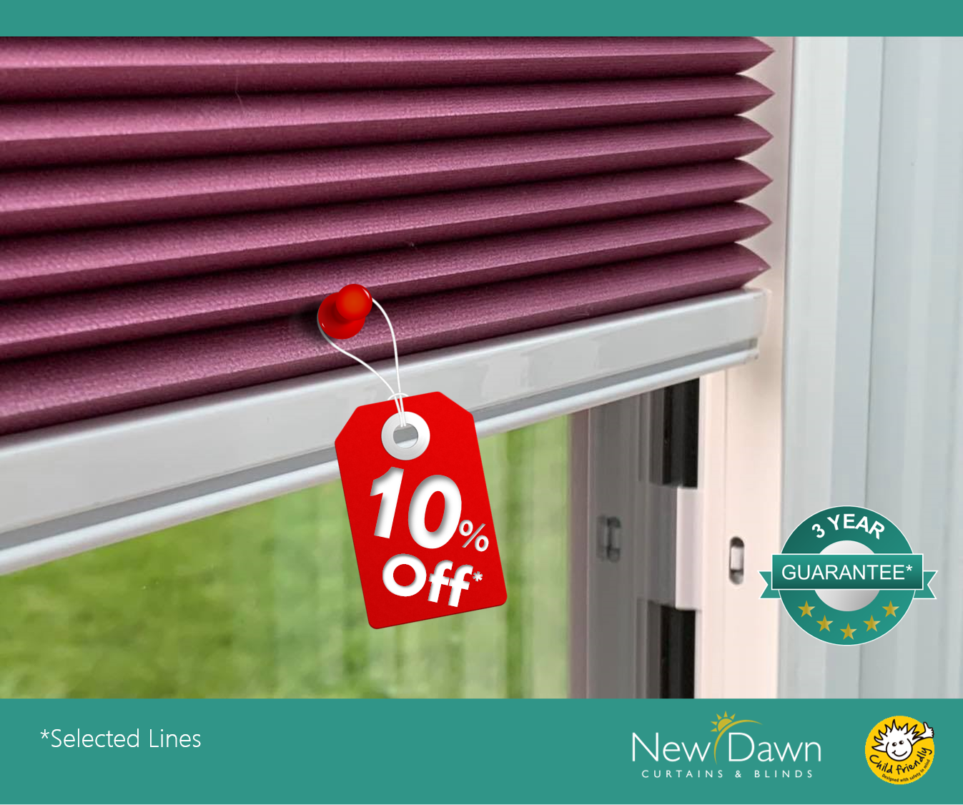 no drill pleated blinds 10% off