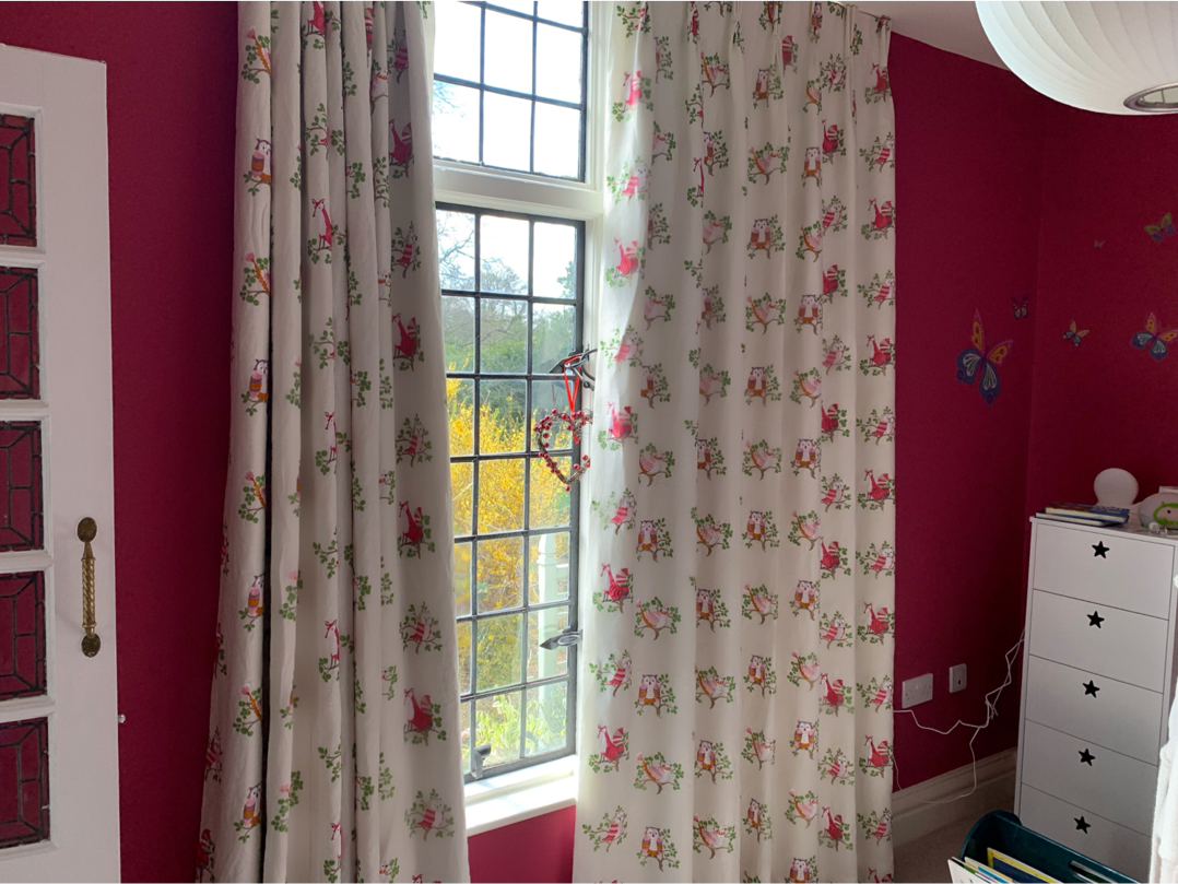 children's curtains in a woodland theme