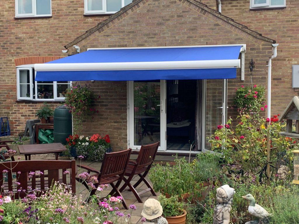 blue awning in garden