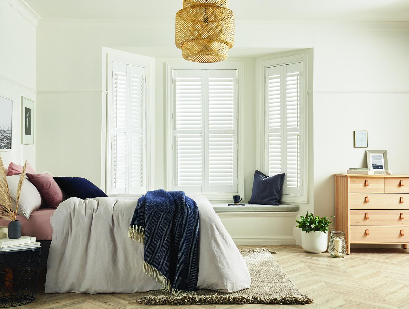 shutters work well in bay windows
